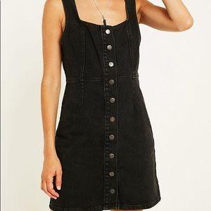 UO Black Button-Through Denim Mini Dress